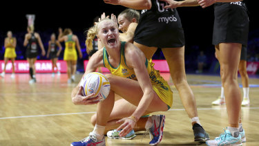 Pumped: Diamonds goal defence Jo Weston had her hands full containing the New Zealand shooters.
