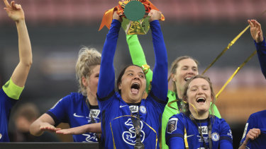 Chelsea's Sam Kerr with the FA Women's League Cup at Vicarage Road.