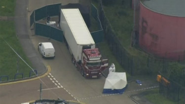 An aerial view as police forensic officers attend the scene after a truck was found to contain 39 dead bodies, in Thurrock, South England, on October 23.