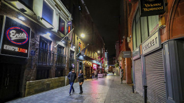 An empty looking Mathew Street in Liverpool, England as drinkers stay at home and follow coronavirus restrictions.