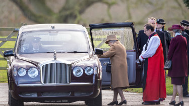The Queen leaves a morning church service in Sandringham in England a day before the meeting with her grandson Prince Harry.