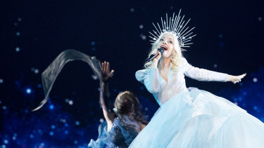 Kate Miller-Heidke performs at her second technical rehearsal for the 64th Eurovision Song Contest in Tel Aviv.