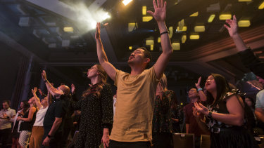 Christian Hillsong worshippers at Easter mass.
