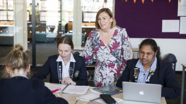 Mount St Joseph Girls' College principal Kate Dishon with senior students. The school was named the 2020 Schools that Excel winner for non-government schools in Melbourne's west.