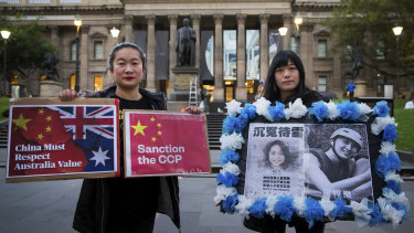 Caroline and Meimi from the Victorian Hong Kongers Association, a pro-democracy support group for Hong Kong in Melbourne on Thursday.