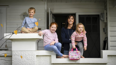 Sophie Smith with her children Will, 4, Charlie, 6, and Lucy, 2.