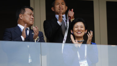 Princess Takamado, right, applauds prior to the group H match between Colombia and Japan in Russia.