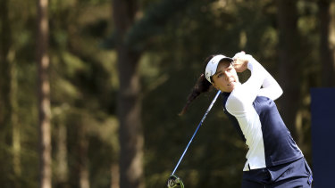 Defending champion Georgia Hall tees off at the Women's British Open.