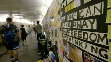 Lennon walls, named in honour of Beatle and peace campaigner John Lennon, have become symbolic of recent protests in Hong Kong.