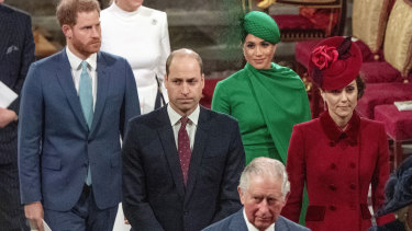Prince Harry and Meghan Duchess of Sussex, Prince William and Kate, Duchess of Cambridge, with Prince Charles.