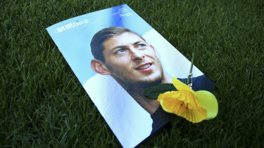 A view of the match day program with an image of Emiliano Sala on the cover, ahead of the English Premier League match between Cardiff and Bournemouth on Saturday.