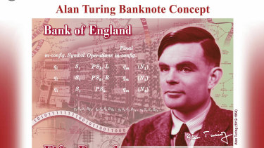 The concept for the new 50 pound note bearing the image of World War II codebreaker Alan Turing.