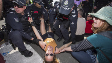 The Extinction Rebellion protest shut down Princes Bridge between midday and 3pm on Saturday.