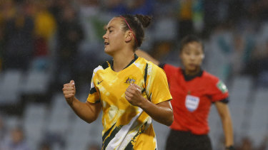 Caitlin Foord bagged a hat-trick in the Matildas' 7-0 demolition of Taiwan.