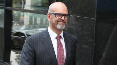 Simon Overland leaves the royal commission after it wrapped up for the year on Friday.