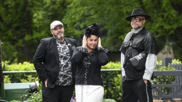 Lee Cleal, Angelina Beninati and fashion designer and milliner Matcho Suba (Angelina in one of Matcho's creations) at The Commons.
