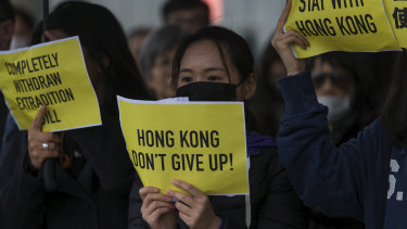 A pro-Hong Kong demonstration in Fed Square on Sunday.