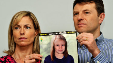 Gerry and Kate McCann, pictured in 2012 with a photograph of what Madeleine would look like as an older girl.