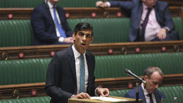 Britain's Chancellor of the Exchequer Rishi Sunak delivers his one-year Spending Review in the House of Commons, in London.