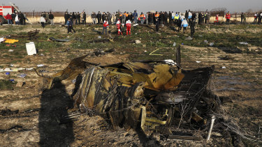 Debris from the downed Ukranian plane on the outskirts of Tehran in January.