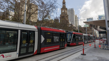 A new 67-metre tram parked at Town Hall on Wednesday.