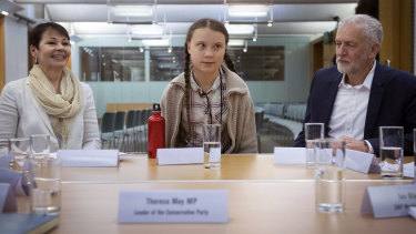 Swedish climate activist Greta Thunberg (centre) meets leaders of the UK political parties, including Green Party leader Caroline Lucas (left) and Labour leader Jeremy Corbyn (right).
