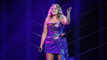 Jessica Mauboy in a candid moment after her stunning semi-final performance at Eurovision.