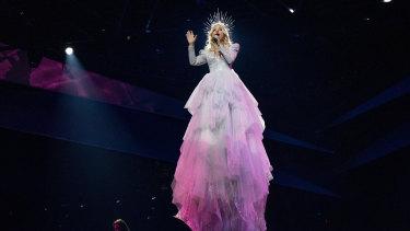 Kate Miller-Heidke rehearsing in her Steven Khalil dress for Eurovision 2019.