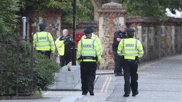 Police arrive at Forbury Gardens in Reading following the incident.