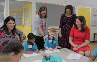 Education Minister Grace Grace (left) and Premier Annastacia Palaszczuk (right) have announced four new schools will be built at Coomera, Caloundra South, Logan and in Brisbane's inner west.
