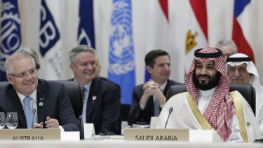 Prime Minister Scott Morrison and  Saudi Arabia's Crown Prince Mohammed bin Salman during the plenary session at the G20 summit in Osaka, Japan.