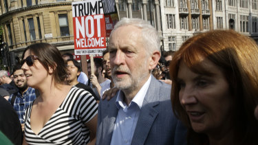 Britain's Labour Party leader, Jeremy Corbyn, joins a march opposed to the visit of Donald Trump.