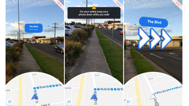 If you try to walk while looking at the AR directions, the app will warn you.