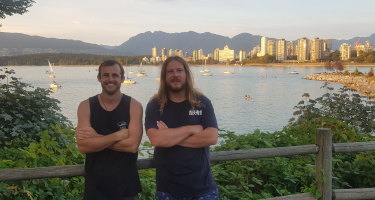 Danial Frater (right) and George Miller are stranded in Canada.