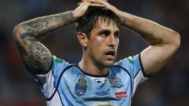 Maroons tide: Mitchell Pearce takes in defeat in game three of State of Origin at Brisbane in 2017.