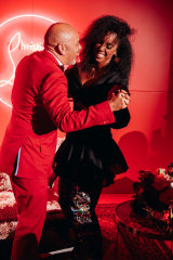 Christian Louboutin and <i>The Voice</i> coach Kelly Rowland in Sydney at a party in his honour on May 18.