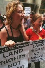 Demonstrators in Sydney march on John Howard's office in December 1997.