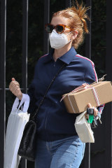 Isla Fisher shopping for a dress for her 45th birthday at The Intersection in Paddington.