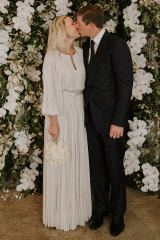Happy couple: Hamilton Island heiress Nicky Oatley and Sydney financier Jonathan Pearce tied the knot on Monday at Balmoral.