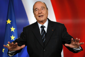 French President Jacques Chirac poses after recording a television address from the Elysee Palace in Paris, 2003.
