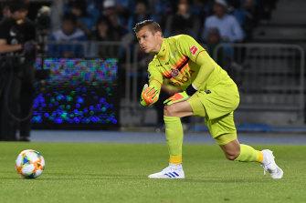 Nagoya Grampus goalkeeper Mitchell Langerak.