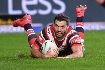 James Tedesco scores in the Roosters' rout of Canterbury on Monday night.