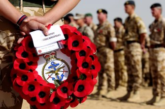 British troops attend a Remembrance Parade at Camp Bastion, in Helmand Province, Afghanistan in 2009, near where one of the incidents is said to have taken place.