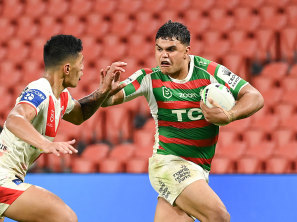 Rabbitohs fullback Latrell Mitchell was a constant threat to the Dragons on Sunday night.