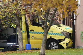 The ambulance was damaged when it crashed into a building in Oslo.