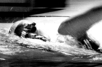 Hayley Lewis of Australia on her way to winning her 400m Freestyle heat. January 9, 1991.