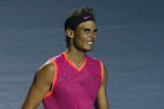 Rafael Nadal reacts to a lost point.