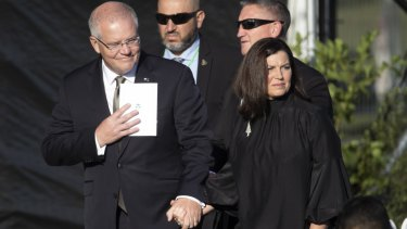 Prime Minister Scott Morrison and his wife Jenny at the remembrance service for the victims of the Christchurch terror attack.