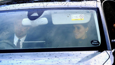 Prince Harry and Meghan, Duchess of Sussex, arrive for the Queen's Christmas lunch on December 19.
