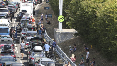 Cars at a standstill as they queue for the Eurotunnel in Folkestone, England, as some kilometres of traffic wait to make their way to the cross-Channel services, with warnings of delays up to five hours.